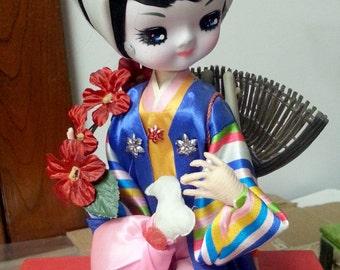 1970s Japanese Asian Oriental Bradley Doll Big Eyes Seated