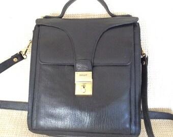 Genuine vintage BALLY black  leather cross body sling messenger bag school