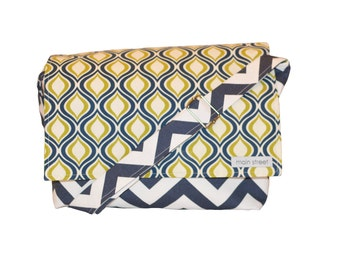 Navy and Olive Green Print with Navy Chevron Camera Bag