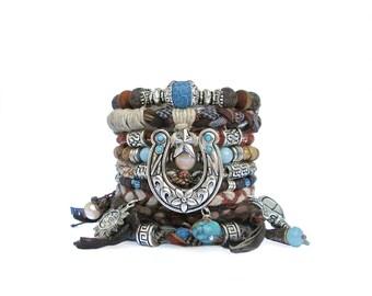 Southwestern Bracelet Stack Boho Cowgirl Bracelet Horse Shoe Stacking Bracelet Rustic Bangles Natural Bohemian Bracelet