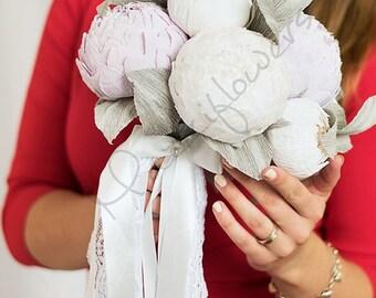Bridal bouquet,wedding bouquet,paper flower bouquet,flower paper, white peonies paper,bouquet paper peony.
