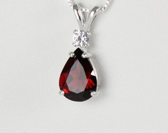 White Gold Garnet Necklace / Pendant / Natural Garnet Necklace Gold 14K
