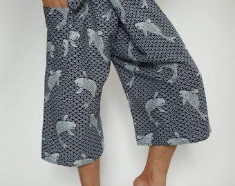 MH3002  3/4 KOI Fisherman Pants with cotton dye indigo Wide Leg pants, Wrap pants, Unisex pants