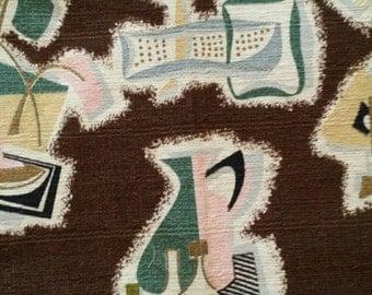 "Barkcloth Era ~ Mid-Century ~ Pastels Brown ~ 30.5"" long x 43.5"" wide"