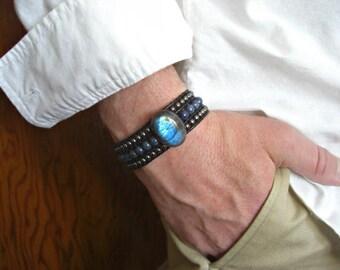 Labradorite, Dumortierite,Hematite 3 Rows Black Leather Beaded Cuff Men's Bracelet, Men's Jewelry
