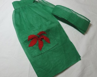 1960s Vintage Home Sewn Christmas Apron in Sheer Green Organza with Felt Poinsettia Pocket & 3D Berries, Vintage Christmas Kitchen Apron