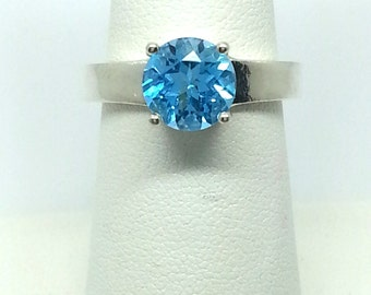 2.30ctw Swiss Blue Topaz Solid 925 Sterling Silver Ring Size 7