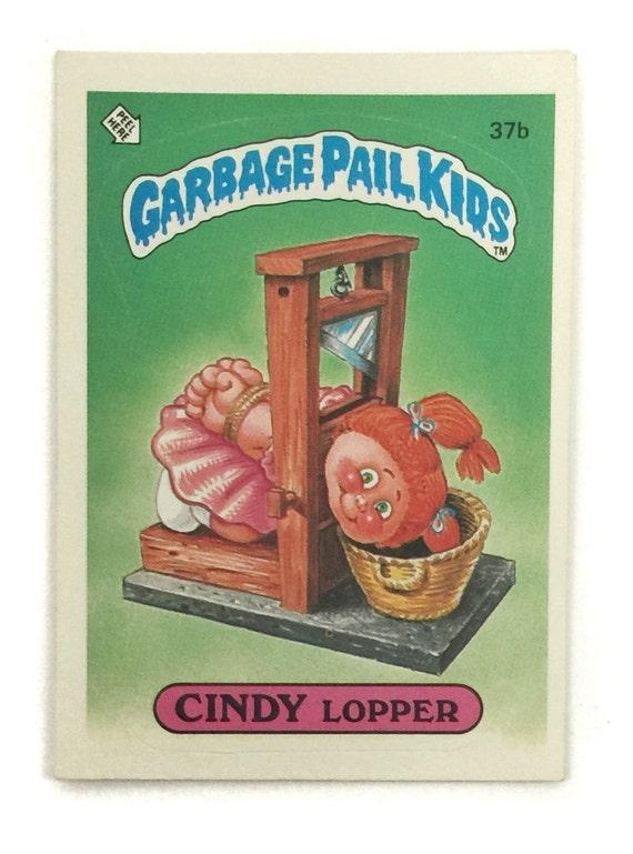 Vintage 80s Garbage Pail Kids Series 1 Cindy Lopper 37b Glossy Sticker Trading Card
