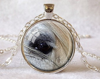 HORSE PENDANT Horse Eye Necklace White Horse Lover Gift for Horse Lover Horse Jewelry Equestrian Jewelry Horse Eye Pendant White Gray Black