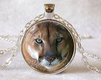 COUGAR PENDANT Cougar Necklace Mountain Lion Jewelry Cougar Mascot Big Cat Lover Gift Cat Pendant Wildlife Jewelry Cougar Jewelry Wild Cat