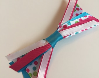 Teal, Hot Pink and Lime Green Polka Dot Ribbon Medley Bow on French Barrette