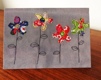 Fabric Flowers Greeting Card