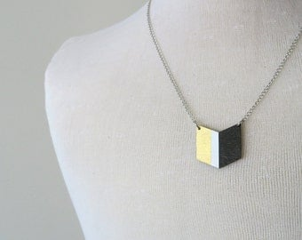 50% Off Wood Pendant Necklace, Chevron Necklace, Hand Painted Jewellery