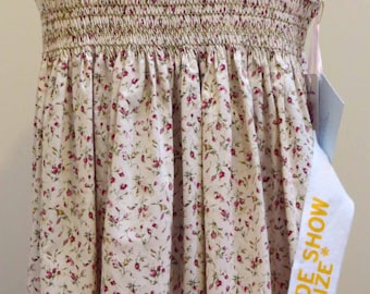 Summer Dress, Hand Smocked, Hand Embroidered, Floral, Sleeveless Dress