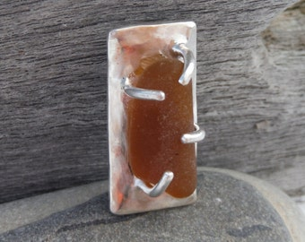 Sea glass sterling silver pendant with prong set honey brown sea glass and hidden bail