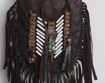 N47P- Dark Brown  Indian leather Handbag, Native American Style  bag. Crossbody bag. Boho Bag. Gypsy Bag