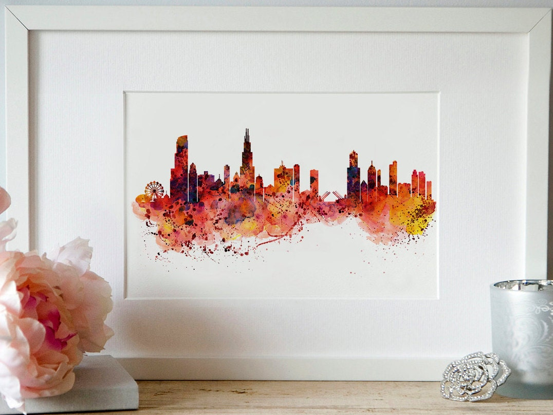 Chicago Wall Art chicago watercolor skyline wall art city art skyline painting