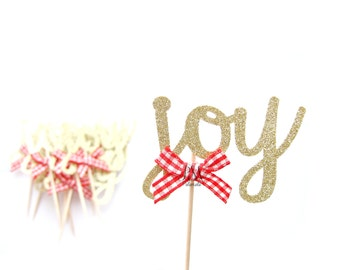 12 Glitter Joy Christmas Cupcake Toppers - Christmas Cupcakes, Christmas Cupcake Toppers, Christmas Party Picks, Christmas Food Picks