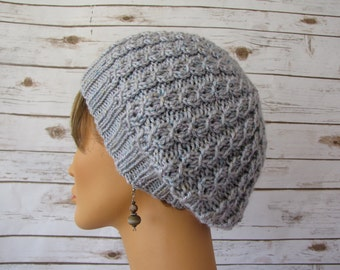 Soft Gray Slouchy Beret - Slouchy Gray Lace Tam - Light Lacy Cabled Beret - Soft Sparkly Gray Hat - Glittery Girly Light Beret