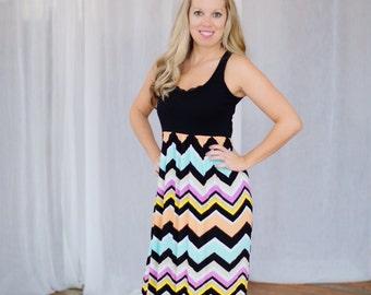 The Multi Black & Pastel Chevron Maxi-Tank Dress -- Women's Maxi Dress -- Jersey Cotton Knit Dress -- Custom Made to Measure