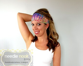 The Funky Plaid Yoga Headband - Spandex Multi-color Headband - Boho Wide Headband