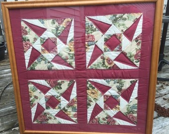 Rose Pinwheel 100% cotton hand-sewn and quilted handmade wall hanging