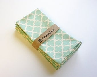 Mint Green Cloth Dinner Napkins // Set of 4 Cotton Dinner Napkins // Eco-friendly 100% Cotton Twill Fabric