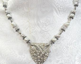 OOAK Vintage Authentic 1920s Art Deco Rhinestone Charm Crystal & Pearl Necklace-handmade- GATSBY wedding - white faux pearls- Flapper Bridal