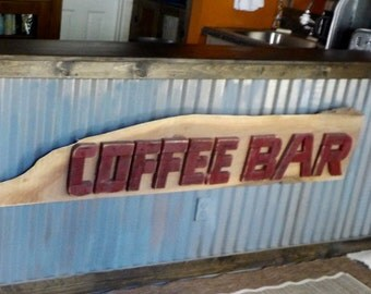 Large, Beautiful Hand Built Solid Wood Coffee Bar Sign