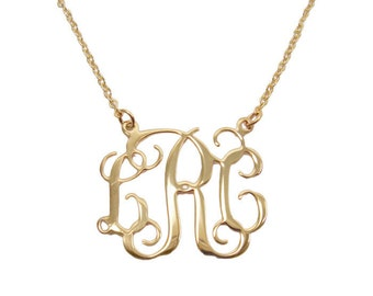 """1.5"""" Monogram Necklace. Personalized Initial necklace. Gold plated sterling silver monogram. Gold monogram necklace. Gold initial necklace."""