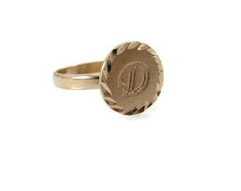 Gold initial ring, initial ring, unisex ring, diamond cut initial ring, choose any initial. matte initial ring, gift for him, gift for her.