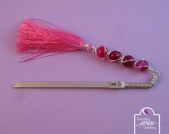 Sword Bookmark, Pink Agate Wire Wrapped Sword Bookmark, Fantasy Bookmark, UK