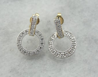 Diamond Studded Drop Earrings, Contemporary Circles for Day or Evening  WCPDLQ-R