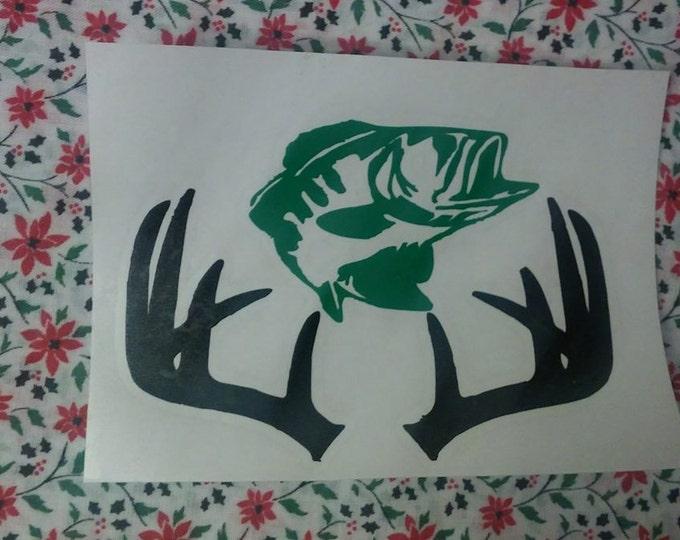 Fishing Hunting Deer Antler Two Color Guy Yeti Cup Car Vinyl Decal