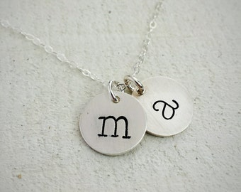 Silver Initial Necklace, Hand Stamped Sterling Charm Necklace, Typewriter Font, Two Initials, Personalized Jewelry