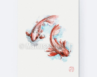 Fish Poster, Lucky Symbol, Japanese Koi Fish, Asian Painting, Chinese Art, Zen Painting