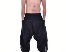 Polka Dot Printed in Black Samurai Pants, Trouser, Baggy pants, Yoga 100% Cotton(Unisex) One Size Fit All