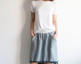 Grey linen skirt, asymmetrical skirt, skirt with pockets, women skirt, knee length skirt, midi skirt with pockets