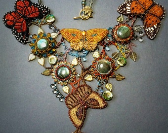 Exclusive necklace with bead embroidered butterflies and labradorite gemstones  - OOAK statement necklace