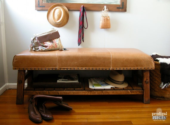 Handcrafted Rustic Leather Nailhead Bench Entry By Prodigalpieces