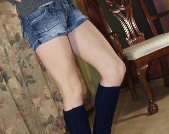Black Sweater Knit Legwarmers Pick Up Color