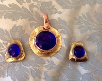 Vintage Pendant and Earrings Modernist Brass Copper Blue Glass Signed
