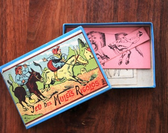 Antique French victorian puzzle/brain teaser game : game of the funny mules!
