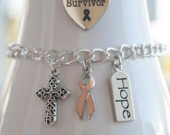 Uterine Cancer Awareness Charm Bracelet