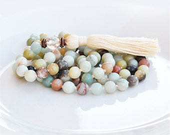 Amazonite Mala Beads 108 - Turquoise Mala Necklace - Boho Jewelry - Meditation Beads - Yoga Jewelry - Tassel Necklace
