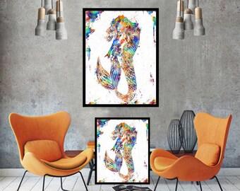 mermaid decor mermaid art mermaid print mermaid wall art print mermaid poster mermaid painting watercolor painting abstract painting canvas