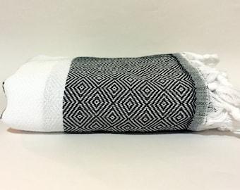Turkish Bath Towel, Black and White Stripes, Hammam, Turkish Peshtemal, Hand Woven, Pareo High Quality