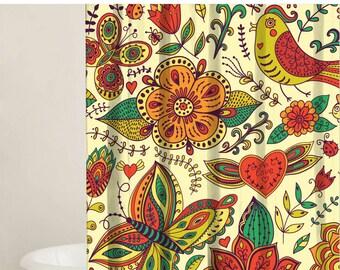 Shower Curtain Set - Custom Shower Curtains, Bird and Flower Designs,  Shower Stall Curtain, 2 Fabric Options, Bathroom Decor, Gift Ideas
