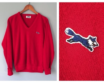 Vintage The (blue) Fox Sweater Red Acrylic Men's V-Neck Sweater Pull Over 1970's JcPenny Size Small Medium Knit Mens Preppy Golf Sweater
