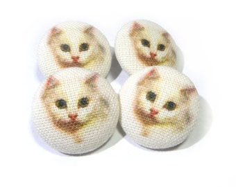 Fabric covered buttons white Cats Kitten, bag purse ivory buttons, funny cat buttons, children kids buttons, sewing buttons, sweater buttons